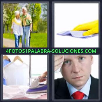 4 Fotos 1 Palabra - siete-letras ancianos plancha. Guante amarillo con bayeta. Hombre con corbata roja limpiándose el sudor.