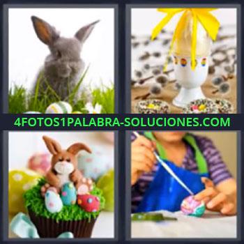 4 Fotos 1 Palabra - cuatro-letras conejos, Huevos pintados, Mujer pintando huevo.
