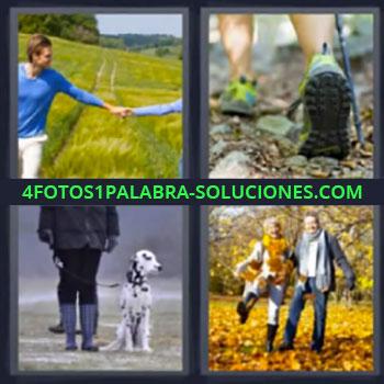 4 Fotos 1 Palabra - ocho-letras caminando. Pareja caminando. Paseando con perro dálmata. Dos personas de la mano. Una mujer con un perro. Una pareja. El pie de un hombre.