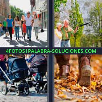 4 Fotos 1 Palabra - seis-letras coches bebes. Personas por la calle. Matrimonio mayor caminando. Botas hojas otoño.
