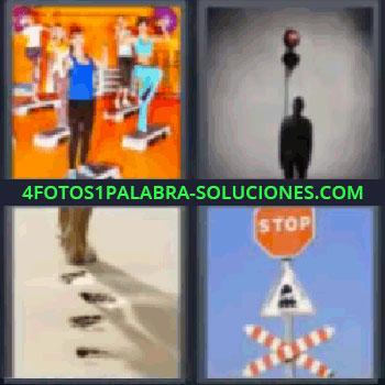 4 Fotos 1 Palabra - tres-letras huellas en la arena, Chicas en un gimnasio, Sombra de un hombre, Huellas de pasos sobre la arena, Señales de tráfico.