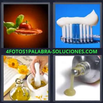 4 Fotos 1 Palabra - siete-letras cepillo de dientes – Preparando salsa en mortero – Pegamento