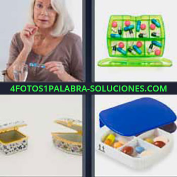 4 Fotos 1 Palabra - píldoras. Señora tomando medicamento. Cajita verde llena de cápsulas. Cajas pequeñas adornadas. Recipientes.