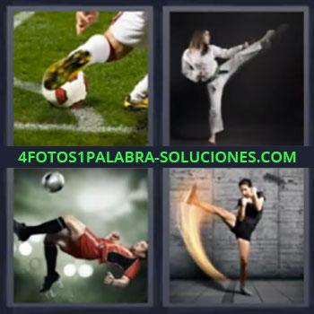 4 Fotos 1 Palabra - cinco-letras karateka, futbolista, karate, futbol.