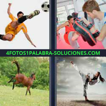 4 Fotos 1 Palabra - seis-letras futbolista pateando. Entrenando artes marciales. Caballo. Mujer karateka.
