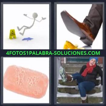 4 Fotos 1 Palabra - cuatro-letras jabon resbalar. Zapato pisando cascara de platano. Mujer resbalando en la nieve.