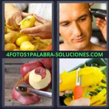 4 Fotos 1 Palabra - siete-letras manzanas peladas, Cortar patatas o papas, Cortarse el pelo, Cortar manzanas
