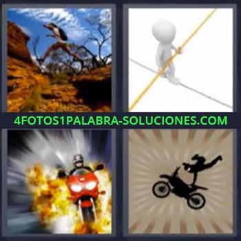 4 Fotos 1 Palabra - moto saltando malabarista. Persona saltando en la montaña. Moto saliendo del fuego.
