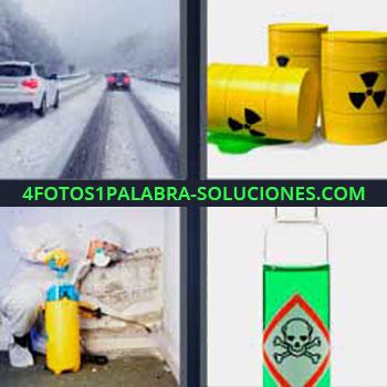 4 Fotos 1 Palabra - cinco-letras barril tóxico. Carretera nevada. Barriles amarillos con productos tóxicos. Hombre fumigando. Bote de líquido verde venenoso.
