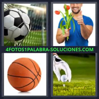 4 Fotos 1 Palabra - siete-letras balon flores. Balon futbol. Balon baloncesto. Golf.