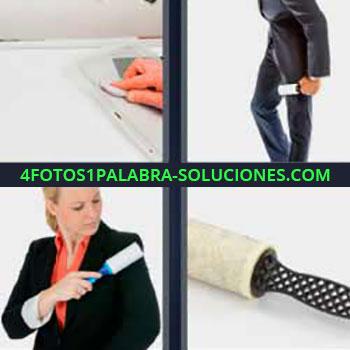 4 Fotos 1 Palabra - seis-letras limpia ropa. Limpiando pantalón de traje. Mujer limpiando chamarra o chaqueta. Rollo quita suciedad de tejidos.