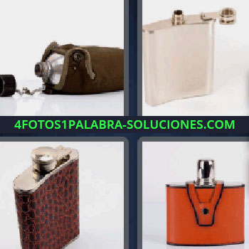 4 Fotos 1 Palabra - ocho-letras cantimplora pequeña para alcohol, bote forrado de cuero marrón, petaca blanca.