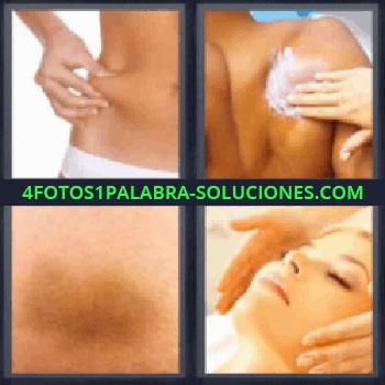 4 Fotos 1 Palabra - cuatro-letras crema en la espalda, Chica pellizcando su cadera, Mano poniendo crema en la espalda, Moratón, Masaje facial.