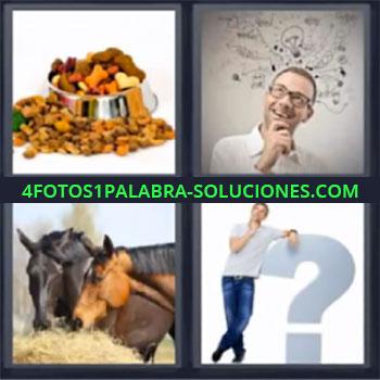 4 Fotos 1 Palabra - cinco-letras comida de perro caballos, Hombre pensando, Caballos comiendo, Hombre junto a interrogante