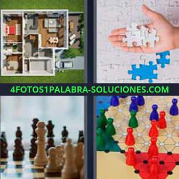 4 Fotos 1 Palabra - cinco-letras maqueta casa. Puzzle. Fichas ajedrez. Tablero y fichas juego.