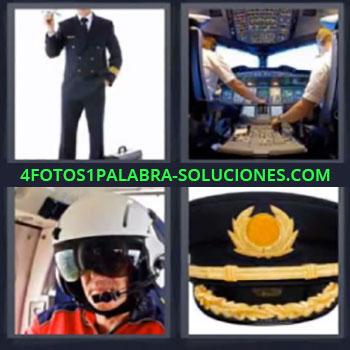 4 Fotos 1 Palabra - seis-letras cabina de avion. Comandante de vuelo. Gorra de capitan de avion.