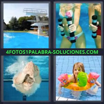 4 Fotos 1 Palabra - cinco-letras alberca nadar, Trampolín en alberca o piscina, Chicas haciendo ejercicio dentro del agua, Chico nadando, Niña con flotador en el agua.
