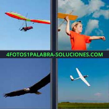 4 Fotos 1 Palabra - siete-letras avioneta. Ultraligero. Niño jugando con avión. Águila volando. Avioneta.