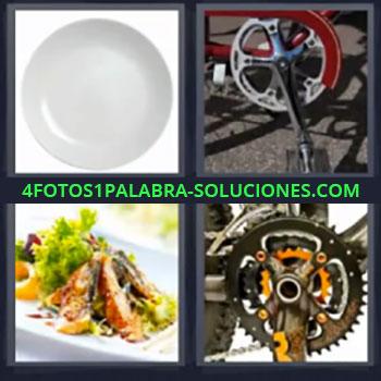 4 Fotos 1 Palabra - cinco-letras cadena bicicleta, Comida