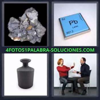 4 Fotos 1 Palabra - mineral, Pb tabla periódica, Pesa, Hombre y mujer discutiendo