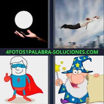 4 Fotos 1 Palabra - cinco-letras hombre volando. Bola iluminada encima de la mano. Caricatura de superhéroe. Dibujo de mago o brujo