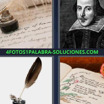 4 Fotos 1 Palabra - cinco-letras cuatro fotos una palabra pluma, retrato de escritor en blanco y negro, bote de tinta china sobre carta, libro con dibujos en los márgenes, pluma de escribir.