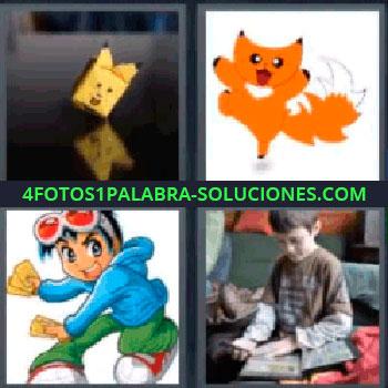 4 Fotos 1 Palabra - seis-letras caricaturas, Muñeco amarillo de papel, Gato naranja, Caricatura de gato anaranjado, Caricatura de joven con camisa azul, Niño con cromos coleccionables.