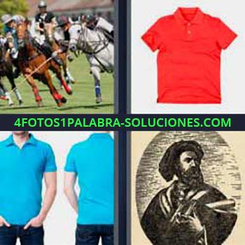 4 Fotos 1 Palabra - cinco-letras caballos deporte. Camiseta roja. Hombre con camisa azul. Cuadro retrato antiguo.