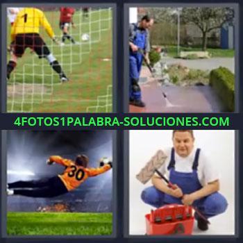 4 Fotos 1 Palabra - siete-letras arco de futbol hombre limpiando Portero en partido de fútbol, Conserje limpiando con agua a presión, Portero parando balón, Señor con equipo de pintura.