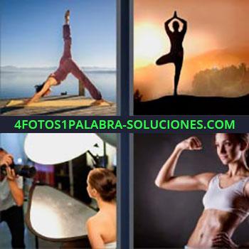 4 Fotos 1 Palabra - mujer haciendo yoga atardecer. Meditación al atardecer. Chica haciendo ejercicio. Fotógrafo y modelo