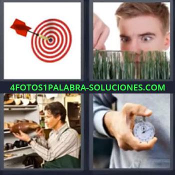 4 Fotos 1 Palabra - cinco-letras diana cronometro , Dardo en en centro de la diana, Chico cortando césped con exactitud, Zapatero con zapato, Persona con un cronómetro en la mano.