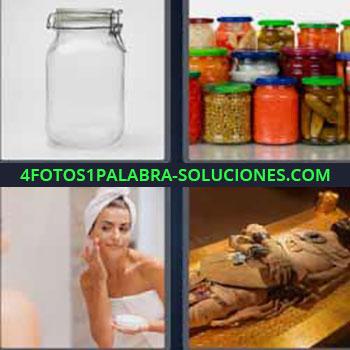 4 Fotos 1 Palabra - tarro de cristal o vidrio. Botes de comida en conserva. Mujer con toallas poniéndose crema. Cadaver antiguo.