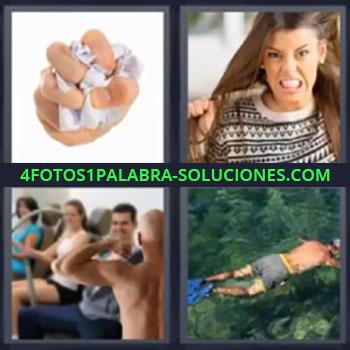 4 Fotos 1 Palabra - mujer tirandose el pelo hombre nadando , Mano apretando papel, Chica estirándose del pelo, Personas ejercitando los músculos, Chico buceando.