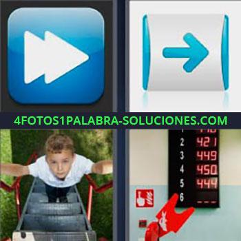 4 Fotos 1 Palabra - ocho-letras flecha azul adelantar dvd. Niño subiendo escaleras. Número en pantalla