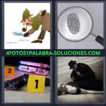 4 Fotos 1 Palabra - cinco-letras detective lupa. Lupa con huella dactilar. Escena del crimen.