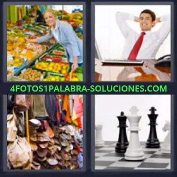 4 Fotos 1 Palabra - cuatro-letras frutas de colores. Hombre de negocios. Tienda de ropa. Tablero ajedrez.
