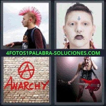 4 Fotos 1 Palabra - siete-letras cresta, Chico de perfil con cresta rosa, Cara de chica con piercings, Graffiti de letras rojas, Chica con guitarra eléctrica roja.