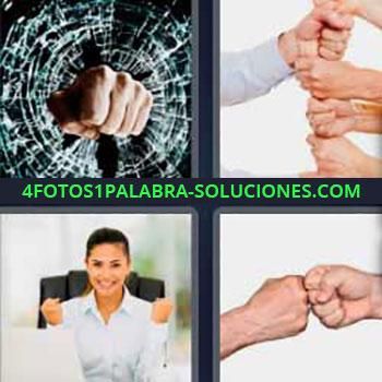 4 Fotos 1 Palabra - cuatro-letras cristal roto. Manos unas encima de otras. Mujer en la oficina. Chocando puños.