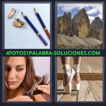 4 Fotos 1 Palabra - cinco-letras lapices, Montañas, Chica cortandose el pelo, Zapatillas bailarina
