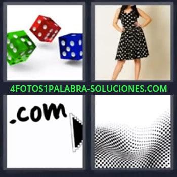 4 Fotos 1 Palabra - siete-letras dados colores, Mujer con vestido negro, .com, Imagen con puntos