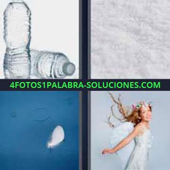 4 Fotos 1 Palabra - cuatro-letras botellas de agua. Sal o nieve. Pluma cayendo sobre el agua. Mujer con vestido blanco.