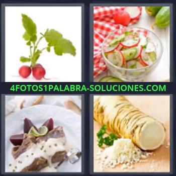 4 Fotos 1 Palabra - seis-letras fruta. Ensalada mantel rojo cuadros. Hortaliza. Plato preparado.