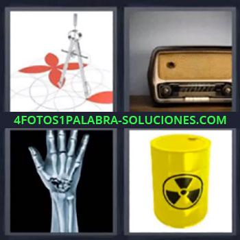 4 Fotos 1 Palabra - cinco-letras compas, Radio antigua, Huesos brazo y mano, Peligro radioactividad