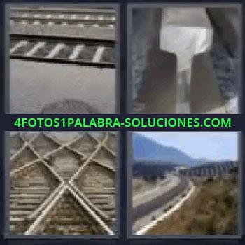 4 Fotos 1 Palabra - vías de tren paralelas, Trozo de raíl, Cruce de vías, Campo con carretera.