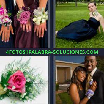 4 Fotos 1 Palabra - ocho-letras flores en las manos. Manos de mujeres con adornos de flores. Mujer con vestido tumbada en la hierba. Rosa o clavel rosa. Matrimonio recién casados.
