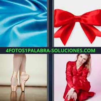 4 Fotos 1 Palabra - tela azul brillante. Lazo rojo. Piernas y zapatillas de bailarina clásica. Mujer vestida de rojo.