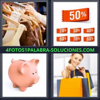 4 Fotos 1 Palabra - siete-letras alcancia mujer con bolsas, Tienda de ropa, Etiquetas de descuento, Hucha o Alcancía de cerdito, Mujer con bolsas de la compra.