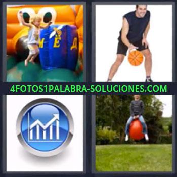 4 Fotos 1 Palabra - siete-letras inflable. Niña jugando en inflable. Jugando baloncesto. Grafico. Botando