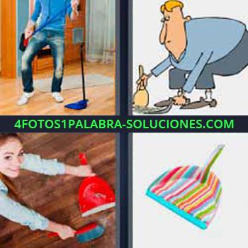 4 Fotos 1 Palabra - seis-letras limpiando piso. Chico tocando guitarra con escoba. Dibujo hombre barriendo. Chica limpiando el piso o suelo. Pala de colores.