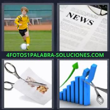 4 Fotos 1 Palabra - siete-letras futbol tijeras , Niño jugando fútbol, Trozo de periódico, Tijeras cortando papel, Dibujo con gráfico y tijeras.